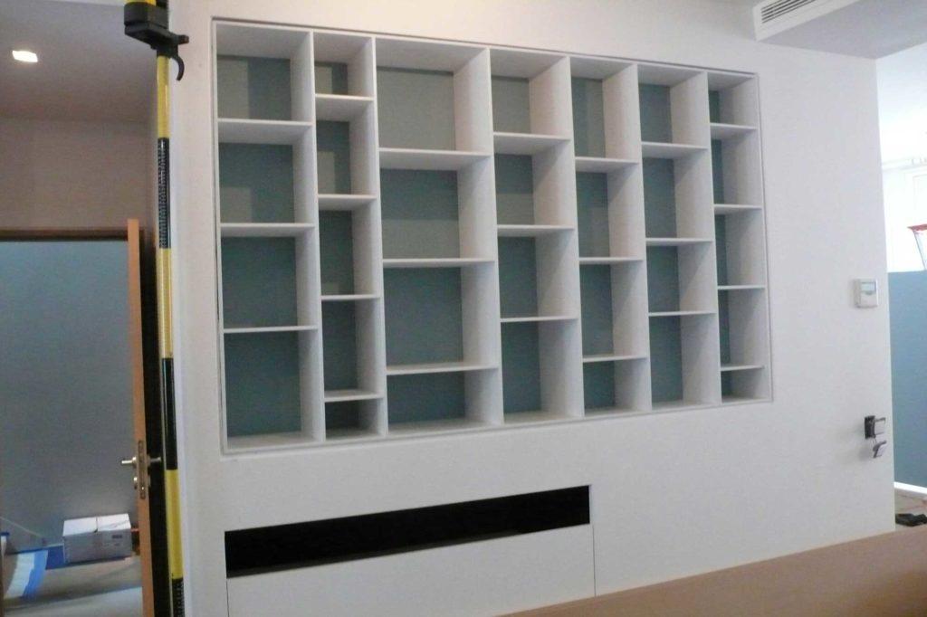 Bibliothèque en MDF laquée blanc